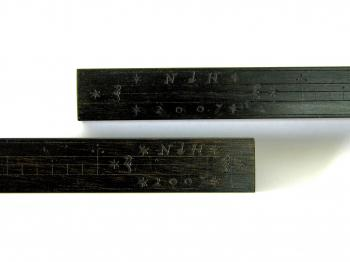 Both staves of the reconstruction are signed and dated.