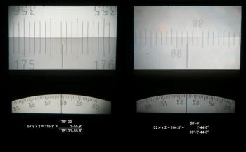 The horizontal (left) and vertical scales. The lower part shows the seconds divided by two.
