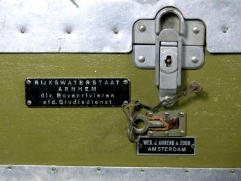 A close-p of the lock and labels on the case.