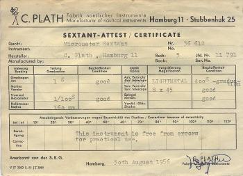 The calibration sheet dated 30th August 1956.