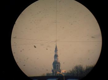 An erected view through the telescope.