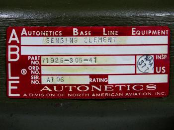 The Autonetics Base Line Equipment (ABLE) label on the gyro.