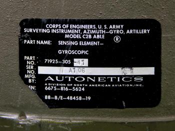 The U.S. Army Corps of Engineers label on the gyro.