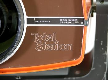 A close-up of the now generally used type-name Total Station.