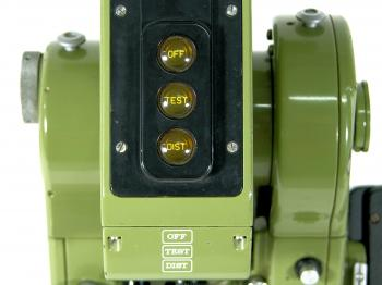 The surveyor end of the DI4 with power (OFF), TEST and DISTance measuring buttons.