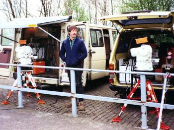 Former coleague Bart Valstar with two AGA-Minilirs, the one at the right with the old model AGA 112.