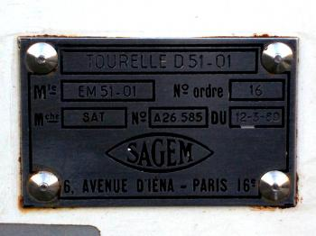 Close-up of the SAGEM label showing contract number 16 and order date 12/03/1980.