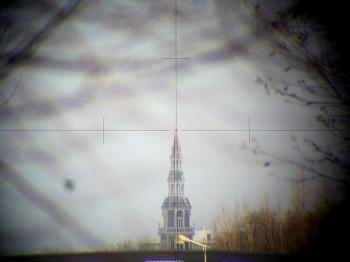 The erected view through the telescope of the Wild T2 mod.