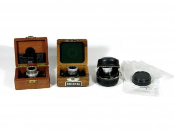 The packaging changed since over time (left to right: Van Leeuwen, Wild, Leica, SwissOptic).