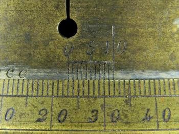 The decimal vernier of the Cittelli instrument reading 22.85°.
