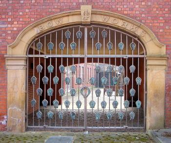 The gate of Chesterman's Bow Works in Sheffield.