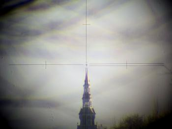 A view through the telescope of the Geodimeter 424.