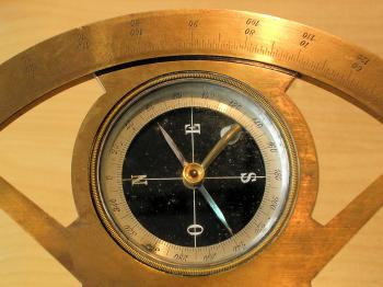 Detail of the instrument showing the compass.