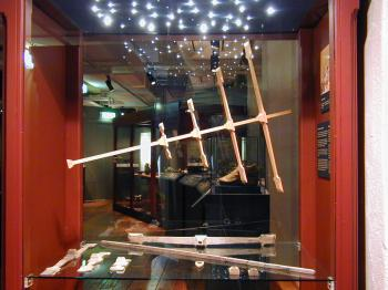 The Kronan cross-staff replica on display in the  Kalmar Läns Museum.
