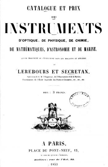 The title page of the 1853 catalogue.