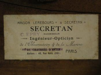 Label showing several successors to Secretan.